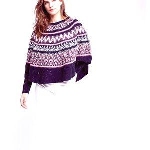 Sleeping On Snow Midland Fair Isle Poncho Sweater